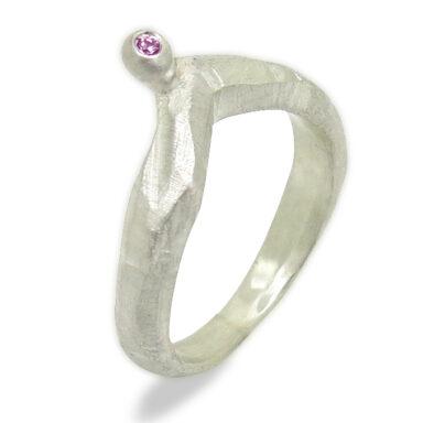Silber mit pink Saphir
